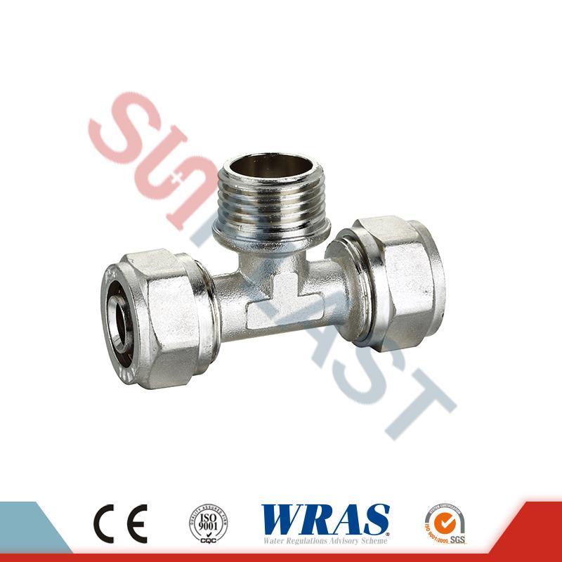 Brass Compression Male Tee For PEX-AL-PEX Multilayer Pipe