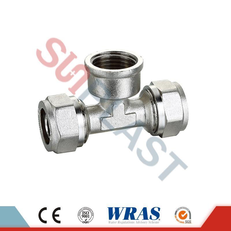 Brass Compression Female Tee For PEX-AL-PEX Multilayer Pipe