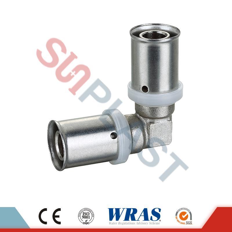Brass Press Elbow Fittings Untuk Pipa Multilayer PEX-AL-PEX